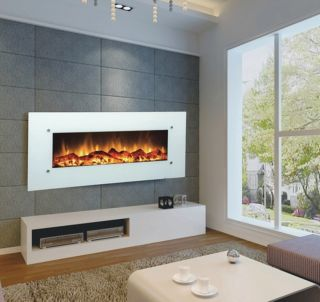 "Wall Mounted Fireplace 50"" Electric White Ivory Heat 400 Sq ft Touchstone"