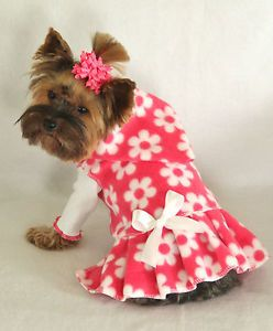 S New Pink and White Daisy Fleece Hoodie Dog Dress Pet Apparel Small