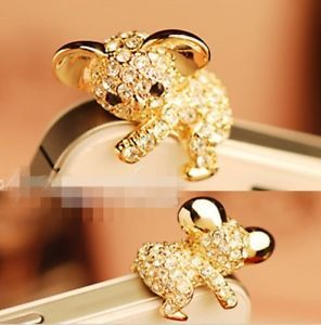 Golden Korea Cute Koala Crystal Cell Phone Headset Dust Plug for iPhone 4S