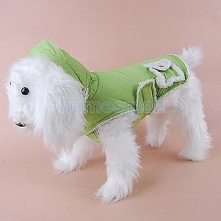 Dog Sleeveless Hoodie Coat Vest Clothes Apparel Green M