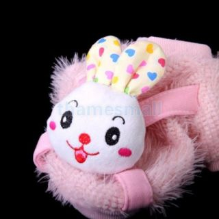 Pet Dog Pink Round Collar Coat Clothing Clothes w Cute Rabbit Head Decor Size S