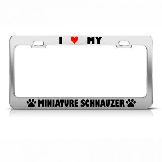 Miniature Schnauzer Paw Love Heart Pet Dog Metal License Plate Frame Tag Holder
