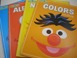 Sesame Street Children's Workbooks Set of 4 Colors Numbers Alphabet Letters
