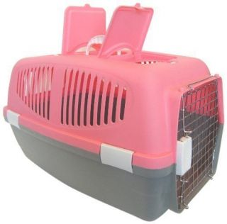 New Small Plastic Carrier for Small Dog Cat Animals Pink Travel Air Food Storage