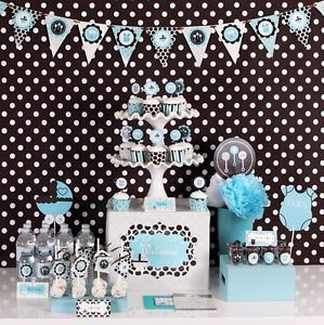 New Blue Baby Boy Shower Mod Party Supplies Kit Invitations Favors