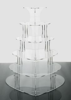 6 Tier Clear Heart Shaped Acrylic Cup Cake Stand