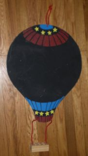 "Hot Air Balloon Chalkboard Message Board with Chalk Holder 26"" x 15 75"" Vintage"
