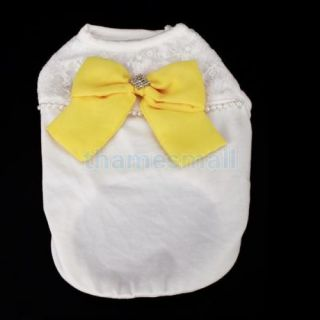 Pet Dog Puppy Fashion Shirt Clothes Clothing Apparel w Yellow Bowknot Size L