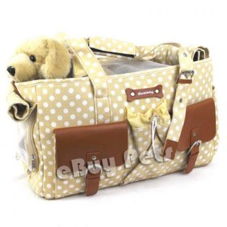 Elegant Polka Dots Canvas Pet Carrier Bag Tote Beige Dog Puppy Doggy Cat