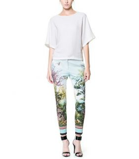 Coloful Scenery Bird Tree Sky Print Slim Smooth Blue Pants