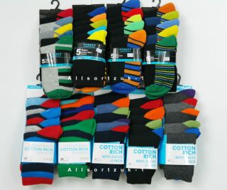 BNWT Boys Childrens 5 Pair Pack Cotton Rich Socks Lots of Choice All Sizes