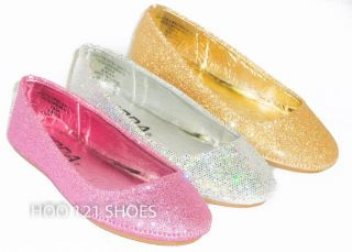 Fabulous Girls Kids Glitter Ballet Flats Casual Pageant Dress Shoes