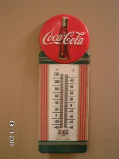New Vintage Style Official Coca Cola 1950's Button Style Thermometer Metal Sign