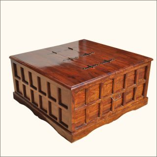 Mission Solid Wood Square Coffee Cocktail Table Storage Trunk Chest Furniture