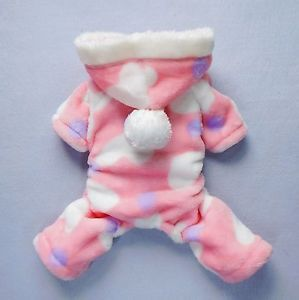 "7""Back Pink Dog Pajamas Soft Dog Clothes Small Pet Hoodies Puppy Coat Apparel"