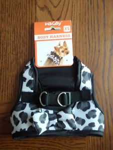Wagby Grey White Black Leopard Body Harness Vest XS Pet Puppy Dog Extra Small
