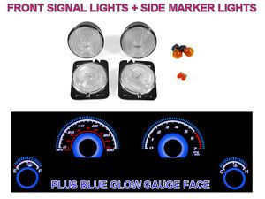 Depo 07 12 Jeep Wrangler JK Clear Bumper Side Marker Lights Blue Glow Gauge