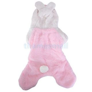 Pet Dog Coat Jumpsuit Velveteen Rabbit Hoodie Hooded Costume Outfit Size L