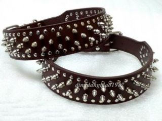 Light Brown Leather Spiked Studded Dog Collars Pitbull Bully Boxer Terrier s XL