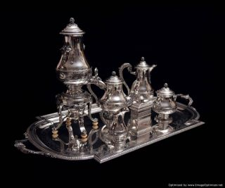Robert Linzeler French Antique Sterling Silver Tea Coffee Set Sterling Tray