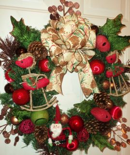 Santa Claus Christmas Wreath Extra Large Stunning Must See Red and Green