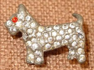 Vtg Art Deco Pot Metal Silvertone Crystal Rhinestone Schnauzer Dog Tiny Pin