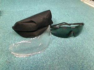ESS Ice Safety Glasses Eyeshield Clear and Dark Lens with Black Case