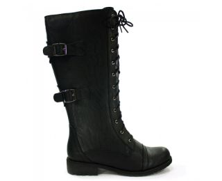 Black Wild Diva Knee High Combat Boot Military Lace Up Style