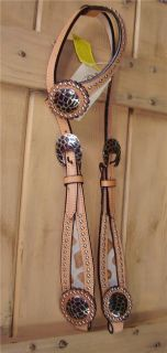 Royal King Giraffe Western Bridle Headstall Horse Tack Silver Studs One Ear