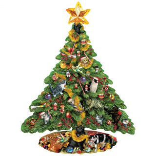 New Cat Christmas Tree Shaped Jigsaw Puzzle Kitten Holiday Seasonal Cute Gift