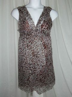 MSSP Max Studio Specialty Product Brown Leopard Print Silk Ruched Ruffle Dress L