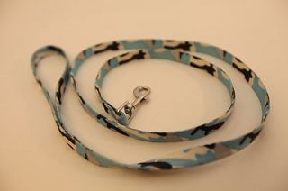 "Pet Small Dog Baby Blue Camouflage Stylish Leash Collar Combo 43""L x 0 4"" w New"