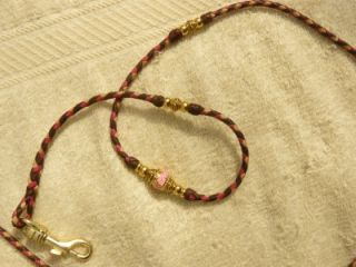 "Braided Kangaroo Leather Dog Show Lead 37"" Brandy Natural Hot Pink"