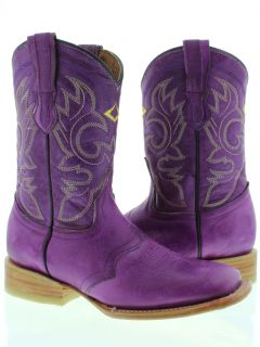 Women Ladies Purple Leather Roper Square Cowboy Boots Western Rodeo Riding Biker
