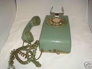 1976 Green Western Electric 554BMP Rotary Dial Corded Wall Mount Telephone Phone