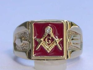 Masonic Mason Square Red Enamel Compasses Clear Austrian Crystal Men Ring Sz 12