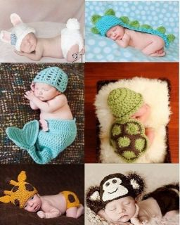 Hot Baby Girl Boy Costume Photography Crochet Knitted Beanie Hat Outfit Handmade