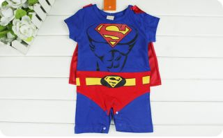 Party Costume Superman Superwoman Supergirl Baby Toddler Romper Bodysuit 0 24M