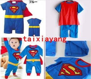 Superman Suit Fancy Dress Superhero Costume for Baby Toddler Kid Boy Romper 90