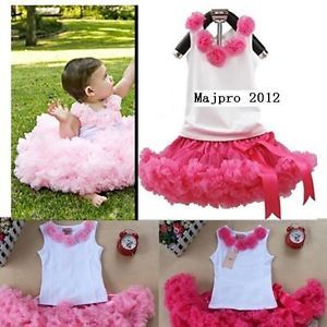 2pcs Baby Girl Kid Top Tutu Pageant Party Formal Dress Skirt Costume Outfit TYB5