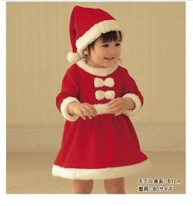 Baby Girls Christmas Dress Hat Outfit Costume Party Dress Set 95cm