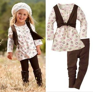 Baby Girls Kids Clothes 2 Piece Set Dress Top Leggings 1 6Y Outfit Costume Skirt