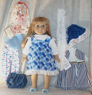 "Doll Clothes Lot 11 Pcs Navy Blue White Fit 18"" inch Girl Dress Shoes New"