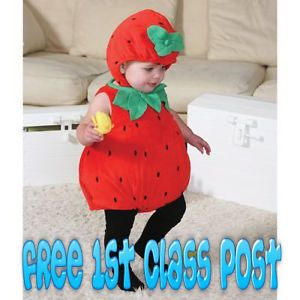 Boys Girls Baby Toddler Deluxe Strawberry Fruit Fancy Dress Halloween Costume BN