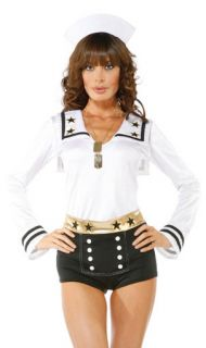 M L Adult Pinup Girl Halloween Costume 3 PC Sailor's Dream Hat Top Shorts