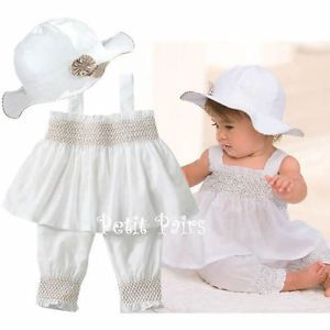 3pcs Baby Girl Kid Ruffle Top Pants Hat Set Outfit Clothes Costume 0 24M