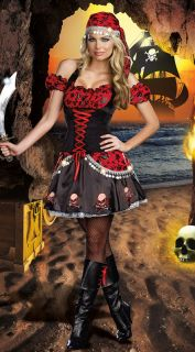 Sexy Women Pirate Skull Costume Robinson Crusoe Halloween Fancy Dress Partywear