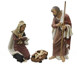 "50"" Large 3 Piece Outdoor Holy Family Nativity Christmas Yard Art Statue Set"