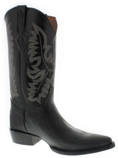 Men's Black Leather Stingray Single Stone Cowboy Boots Western Rodeo Biker