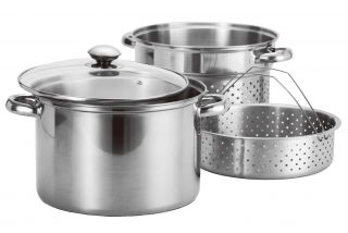 8qt Quart Stainless Steel 4pc Stock Pot w Deep Pasta Multi Cooker Steamer